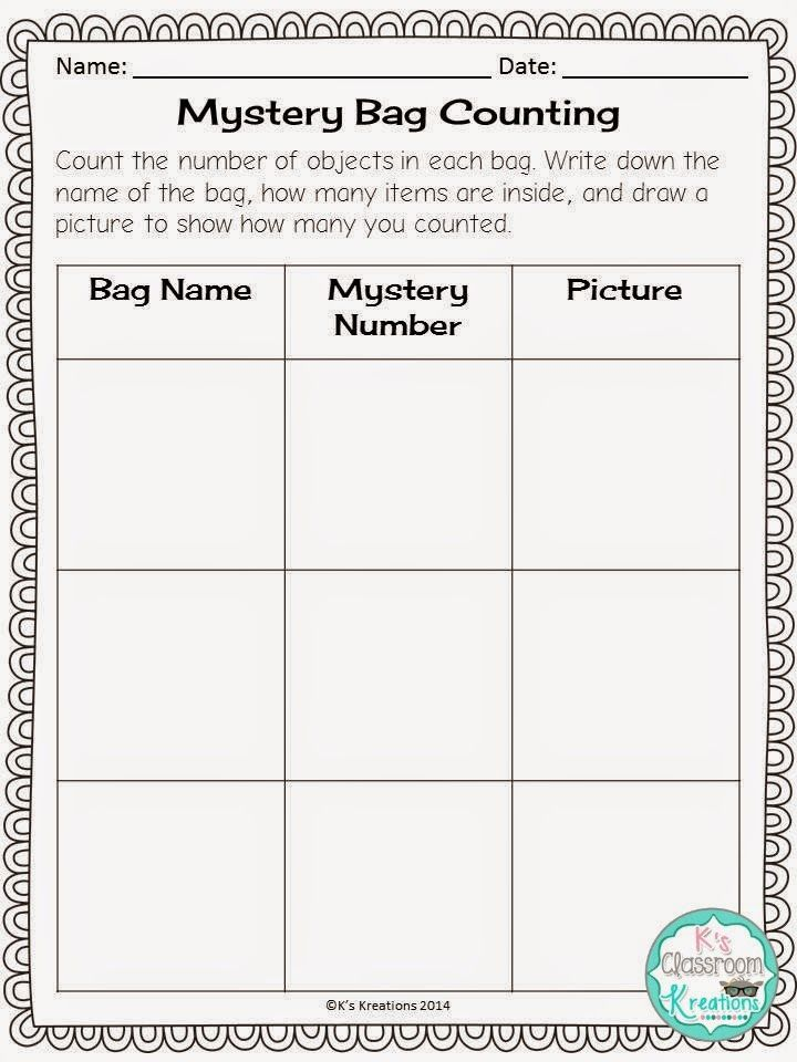 Math Tip Monday: Counting to 50 Mystery Bag Counting Freebie