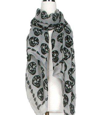 Gray and Black Print Big Skull Long Cotton Scarf Wrap Stole Women's Men's Fashion