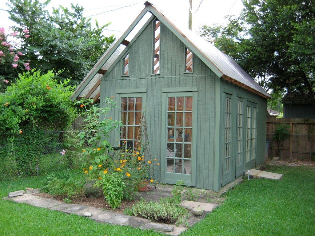 Modern Shed Design With Gray Wall With Glass Door Plus Glass Windows ...