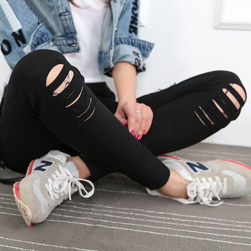 Donna Jeans Skinny Matita Foro Pantaloni Denim Strappati scarni sexy Fondo Pantaloni Sottili Femminili Estate leggins Cotone di Alta Elastico