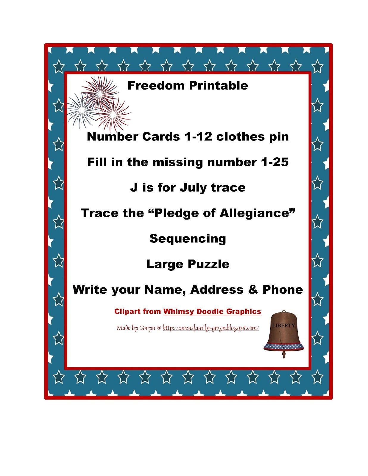 Preschool Printables 4th Of July