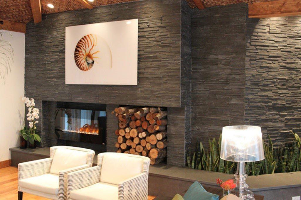 Modern Stacked Stone Fireplace Fireplace Pinterest Stone