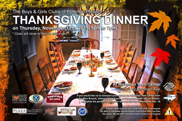 Boys And Girls Clubs Thanksgiving Dinner Flyer  Nonprofit