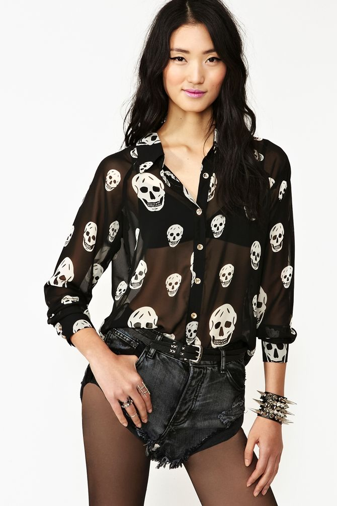 597c01274 Skull Chiffon Blouse in Clothes Tops at Nasty Gal | Must have ...