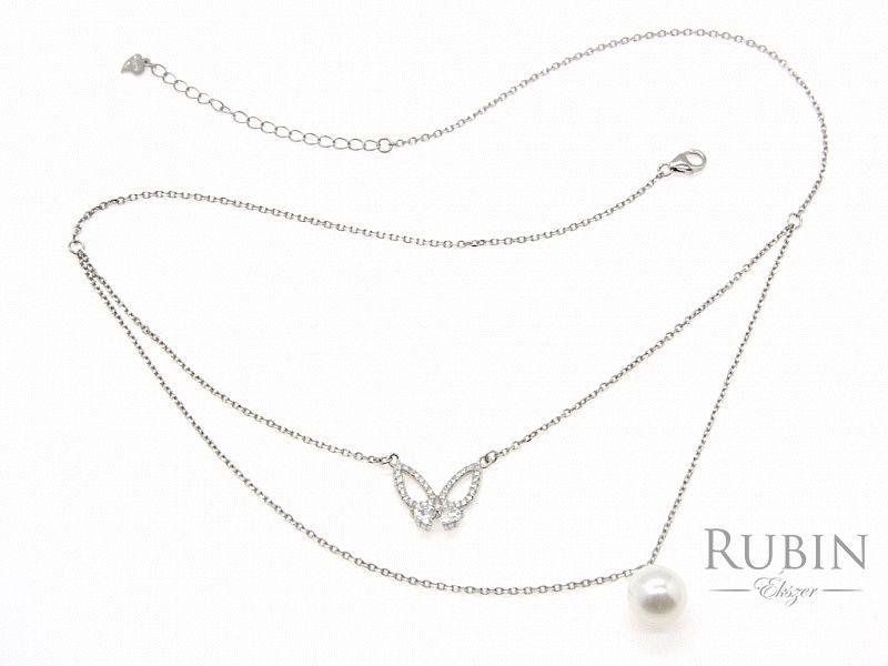Cirkónia köves gyöngyös pillangó motívumos ródiumos ezüst nyaklánc