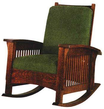 Delightful Warm, Dark Oak On A Mission Rocking Chair