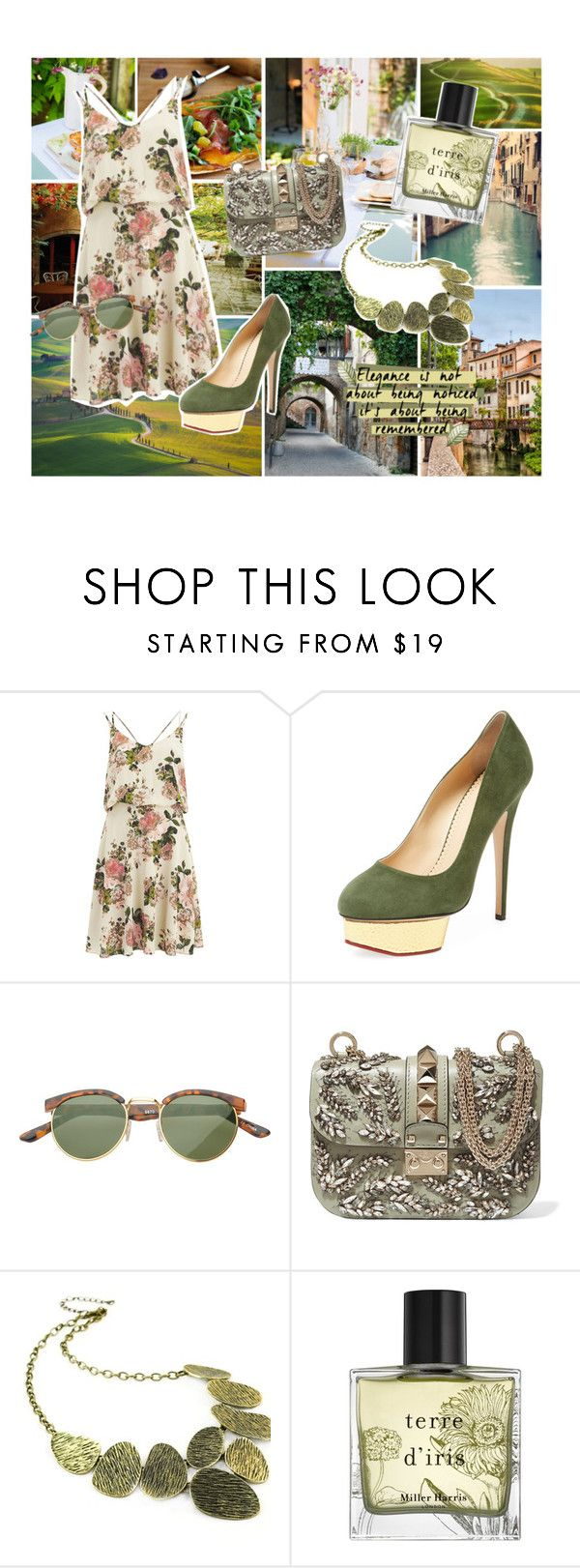 """♥"" by antonelamarc ❤ liked on Polyvore featuring Cinque, Avenue, VILA, Charlotte Olympia, Valentino, Emi Jewellery and Miller Harris"