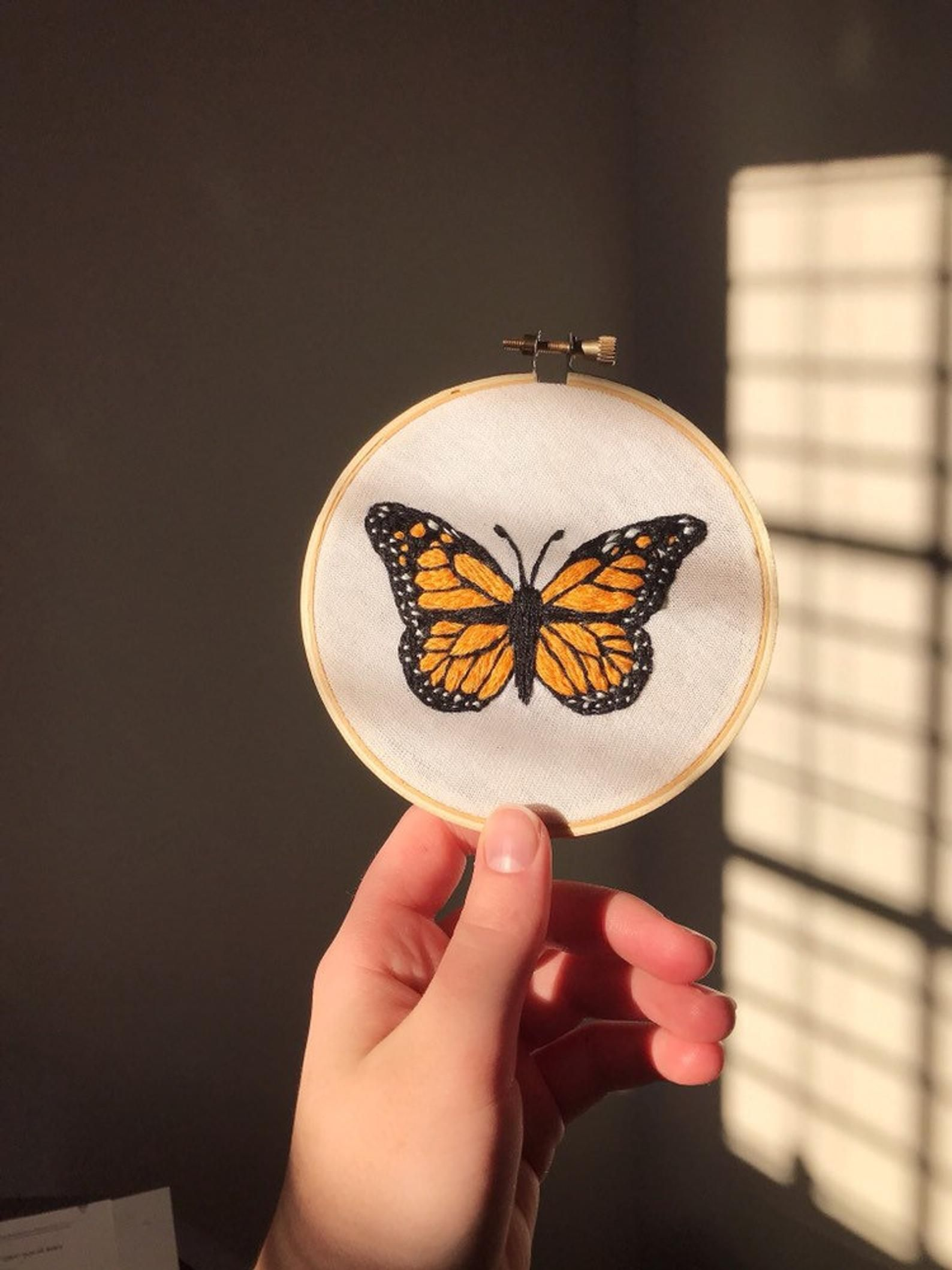 Monarch Butterfly Embroidery Hoop / Needle Painting