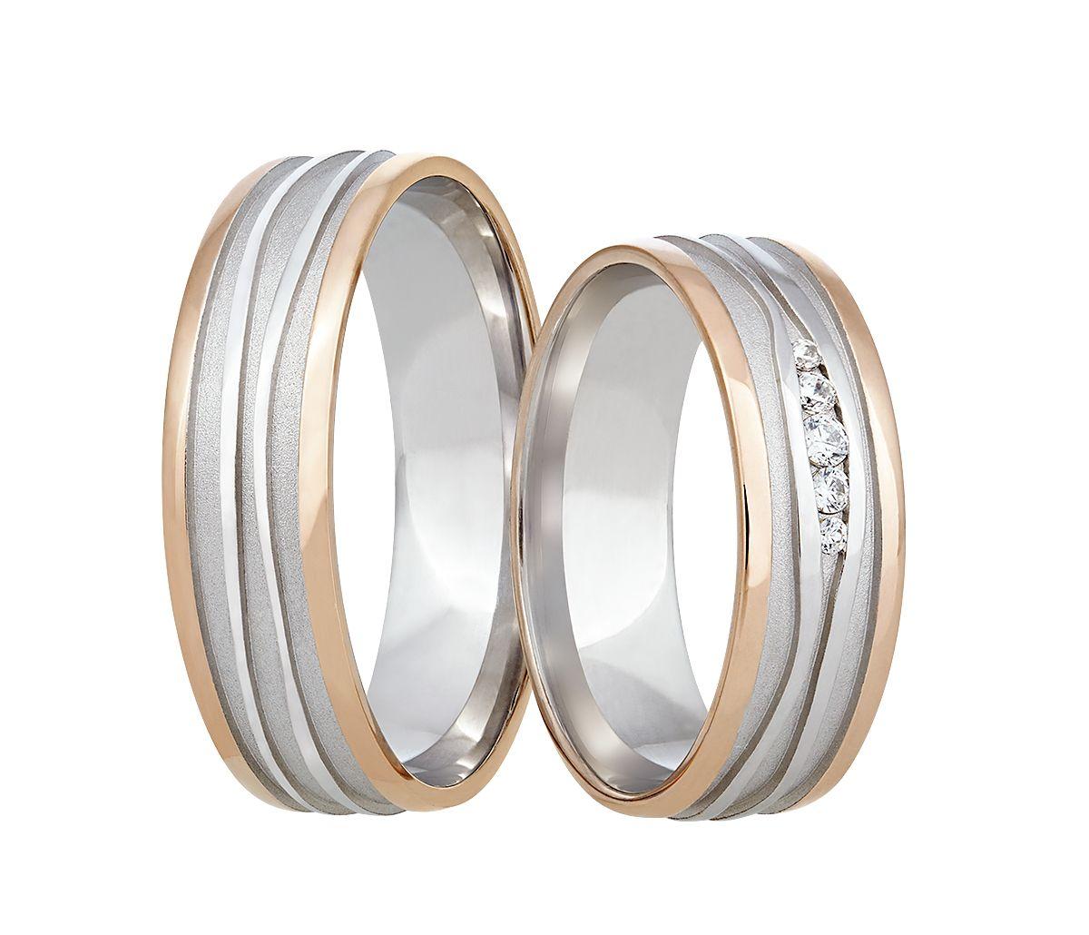 Masivni Snubni Prsteny V Kombinaci Bileho A Cerveneho Zlata Zdobi