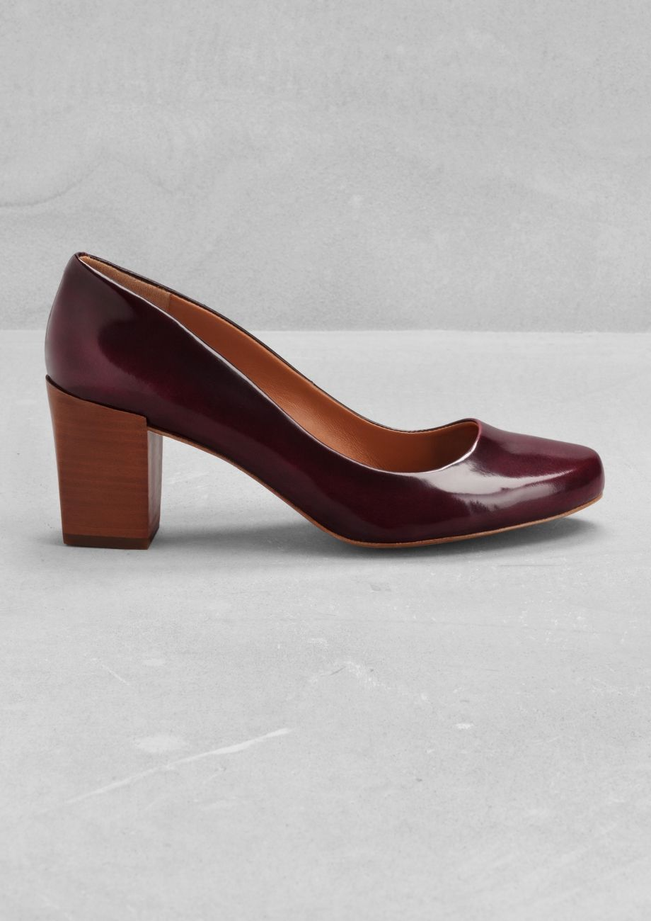 f06e3dd8454  amp  OTHER STORIES Block heel leather pumps in dark red