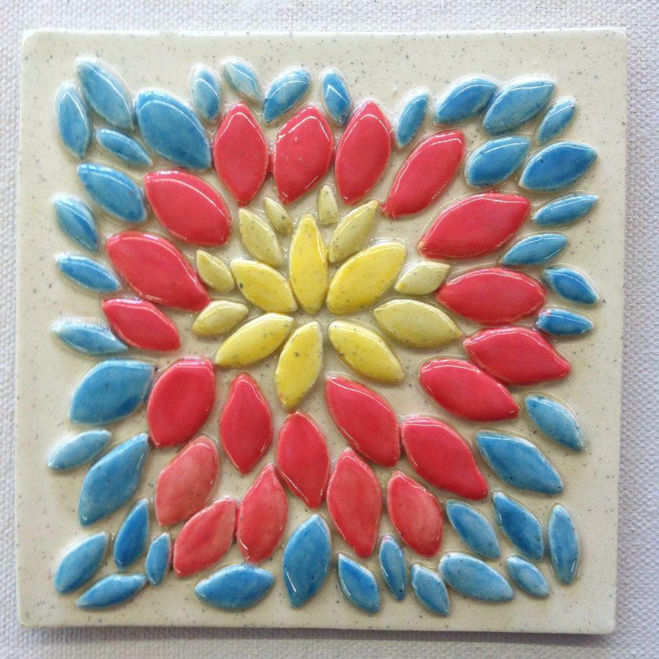 Handmade Relief Tile - Flower Burst