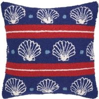 Banded Seashells on Blue Hook Pillow
