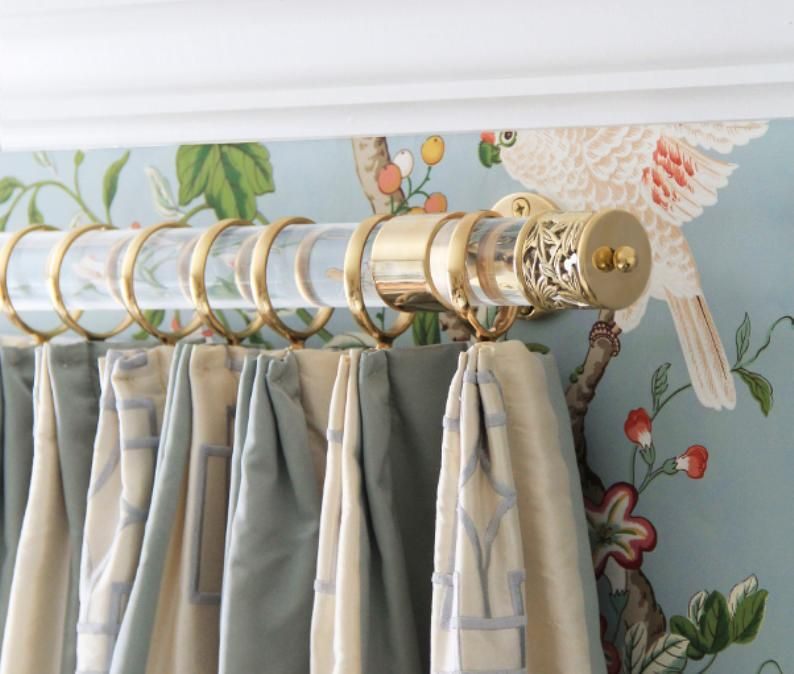 Custom Lucite Curtain Rod With Brackets And Lattice Finials Etsy