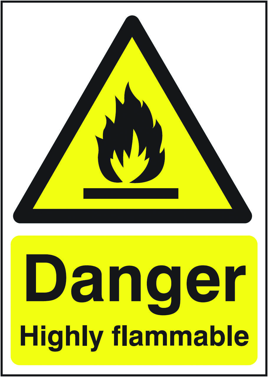 Danger highly flammable sign beaverswood identification
