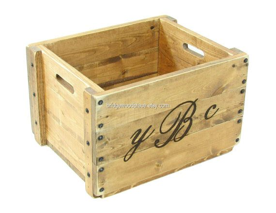 Monogrammed Wood Crate Personalized Wooden Box by BridgewoodPlace