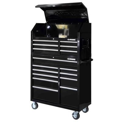 Husky 41 In 16 Drawer Tool Chest And Rolling Tool Cabinet Set Black Hotc4116b1qes The Home Depot Tool Chest Tool Cabinet Tool Storage
