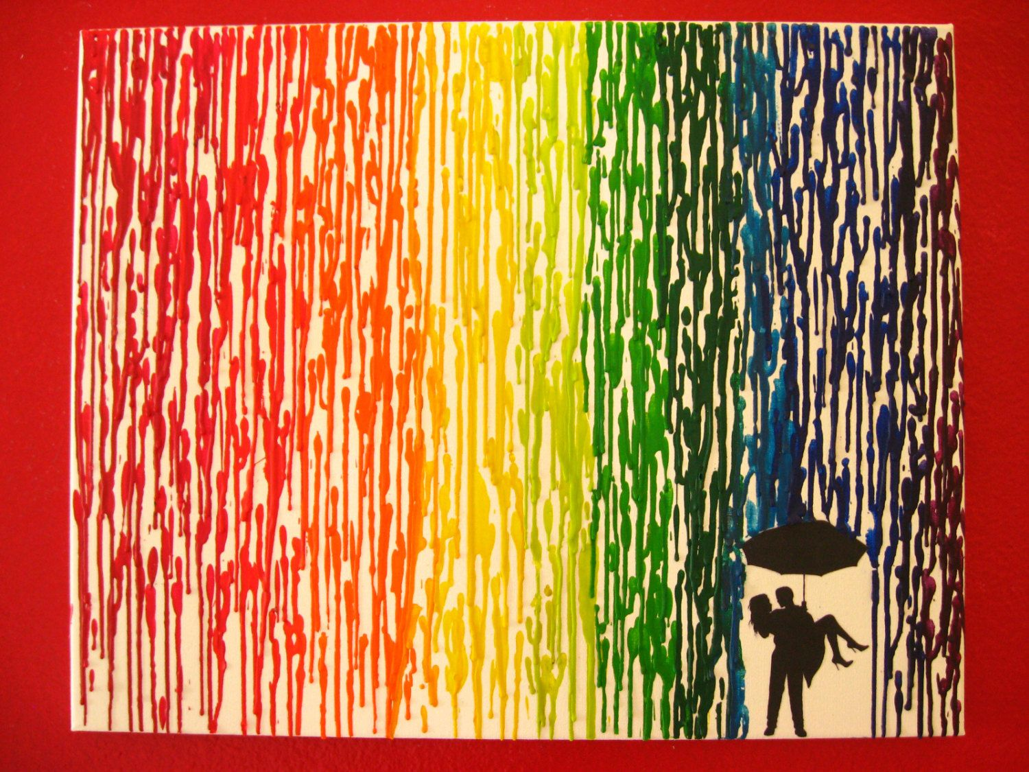 Rainbow encaustic wax painting 16x20 canvas melted for How to melt crayons on canvas