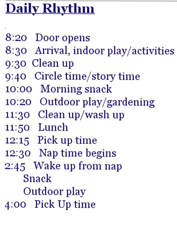 Sample of a Waldorf Preschool schedule crafts for kids Pinterest - best of 8 child care philosophy statement examples