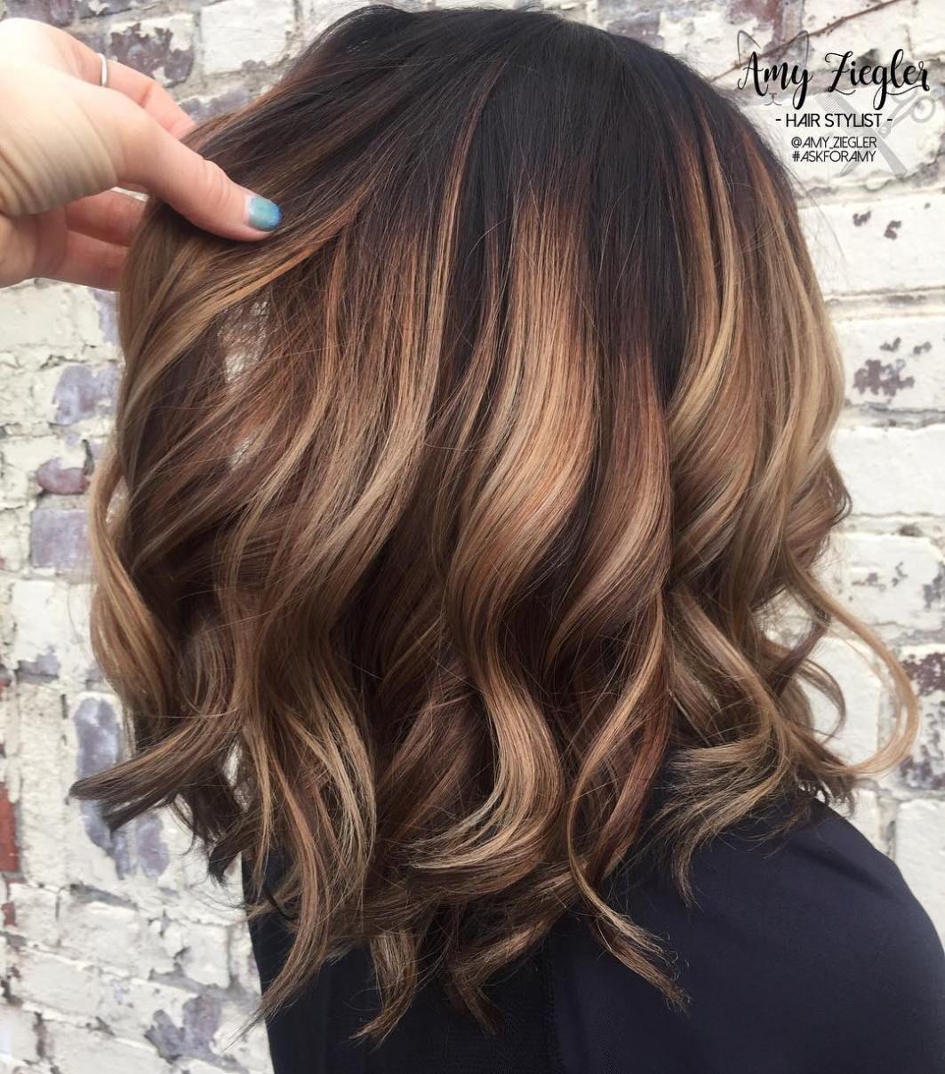 Caramel Balayage Hair With Black Roots