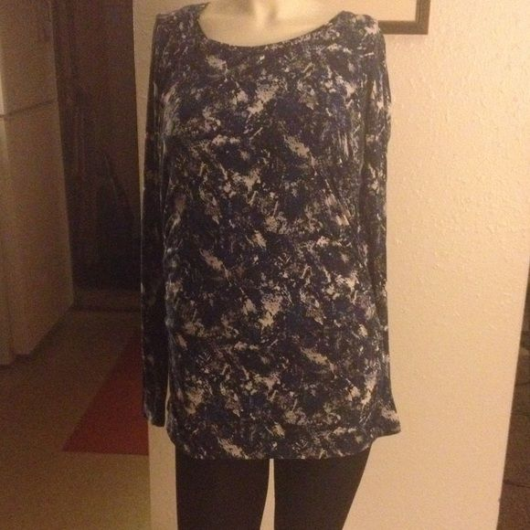 Ann Taylor pullover blouse. Long sleeve splash of blue blouse. 57% cotton, 38% modal and 5% spandex. Ann Taylor Tops Blouses