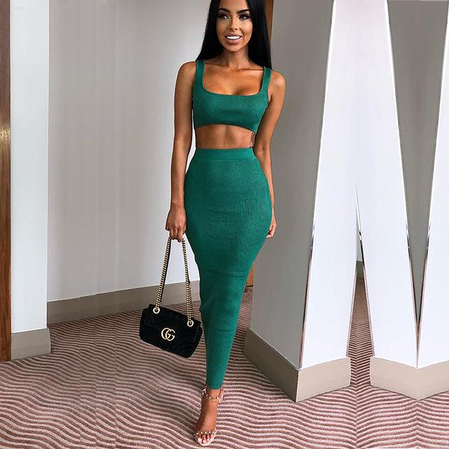 db5e06625f Style Type: 2 Piece Sleeveless Crop Top & Skirt Set Material:  Polyester,CottonDresses Length: Ankle-LengthColor: Pink, Red, Green, Black,  Khaki, White, ...