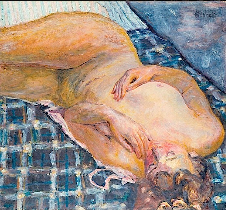 Pierre Bonnard, Nude Reclining against a White and Blue Plaid, 1909