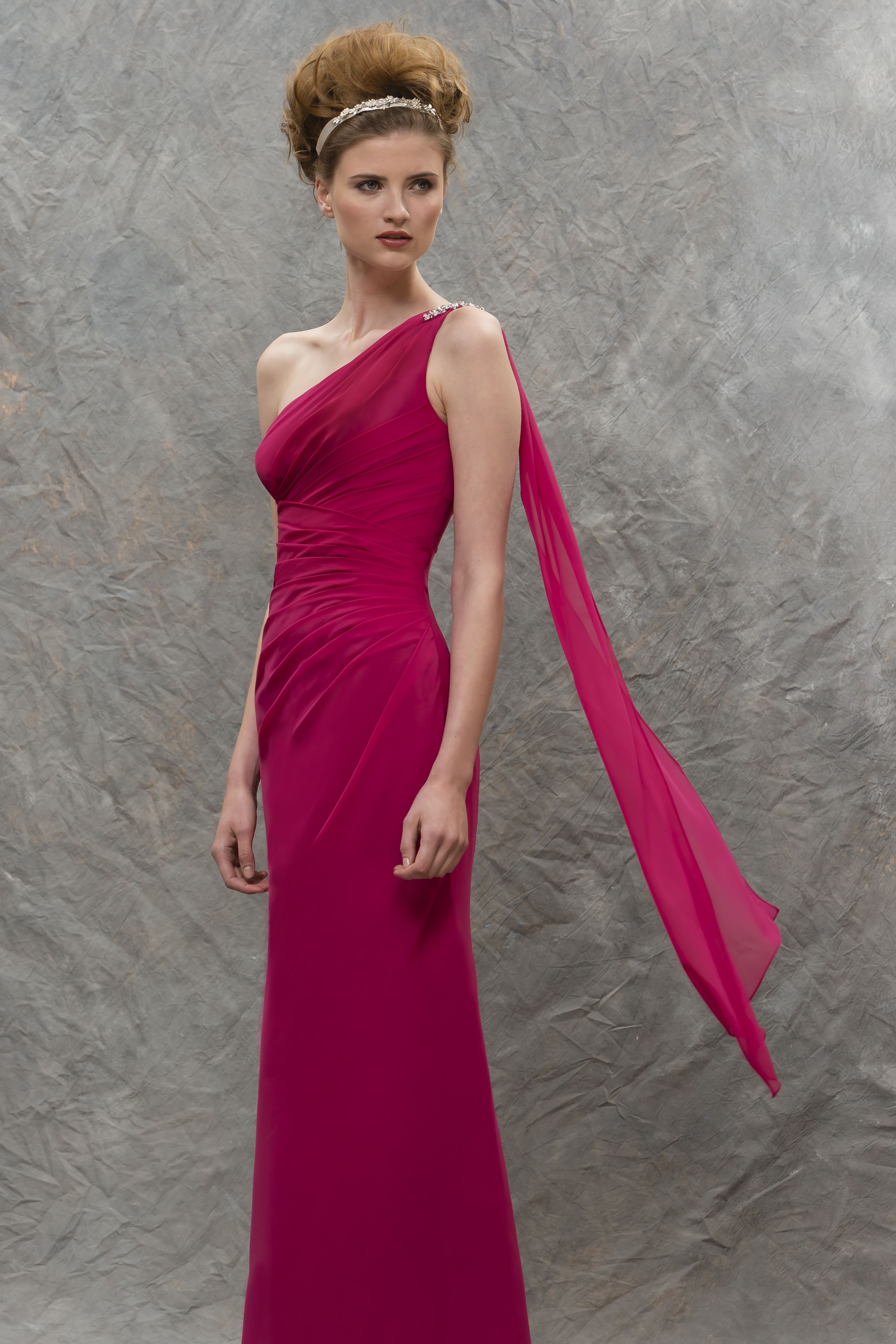 M586 chiffon bridesmaid dress with one shoulder detail and chiffon bridesmaid dresses ombrellifo Image collections