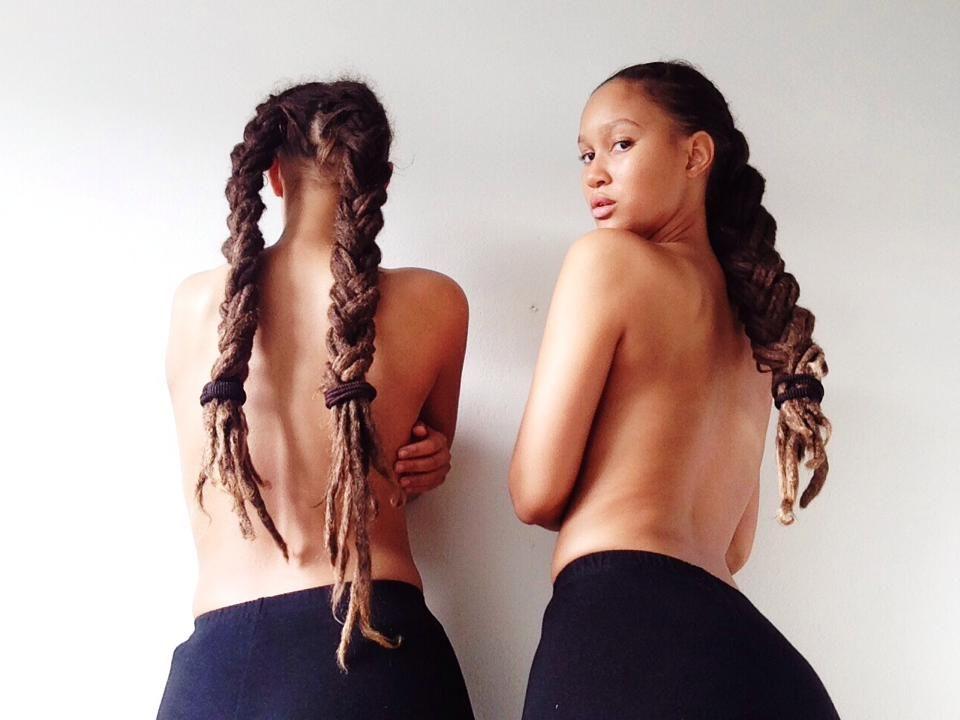 Twins Elizabeth Lejonhjärta & Victoria Lejonhjärta    lock Braids. braided locks. long locks. natural hair. women's hair. women's locks. twins.