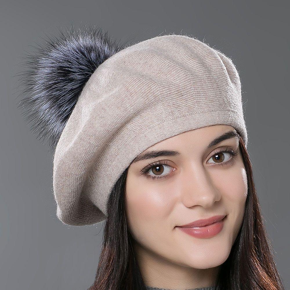 337f24c28f6dd URSFUR Women Beret Hat Autumn Knitted Caps Headwear with Fox Fur Ball  Pompoms  URSFUR  Beret  WinterAutumnSpring