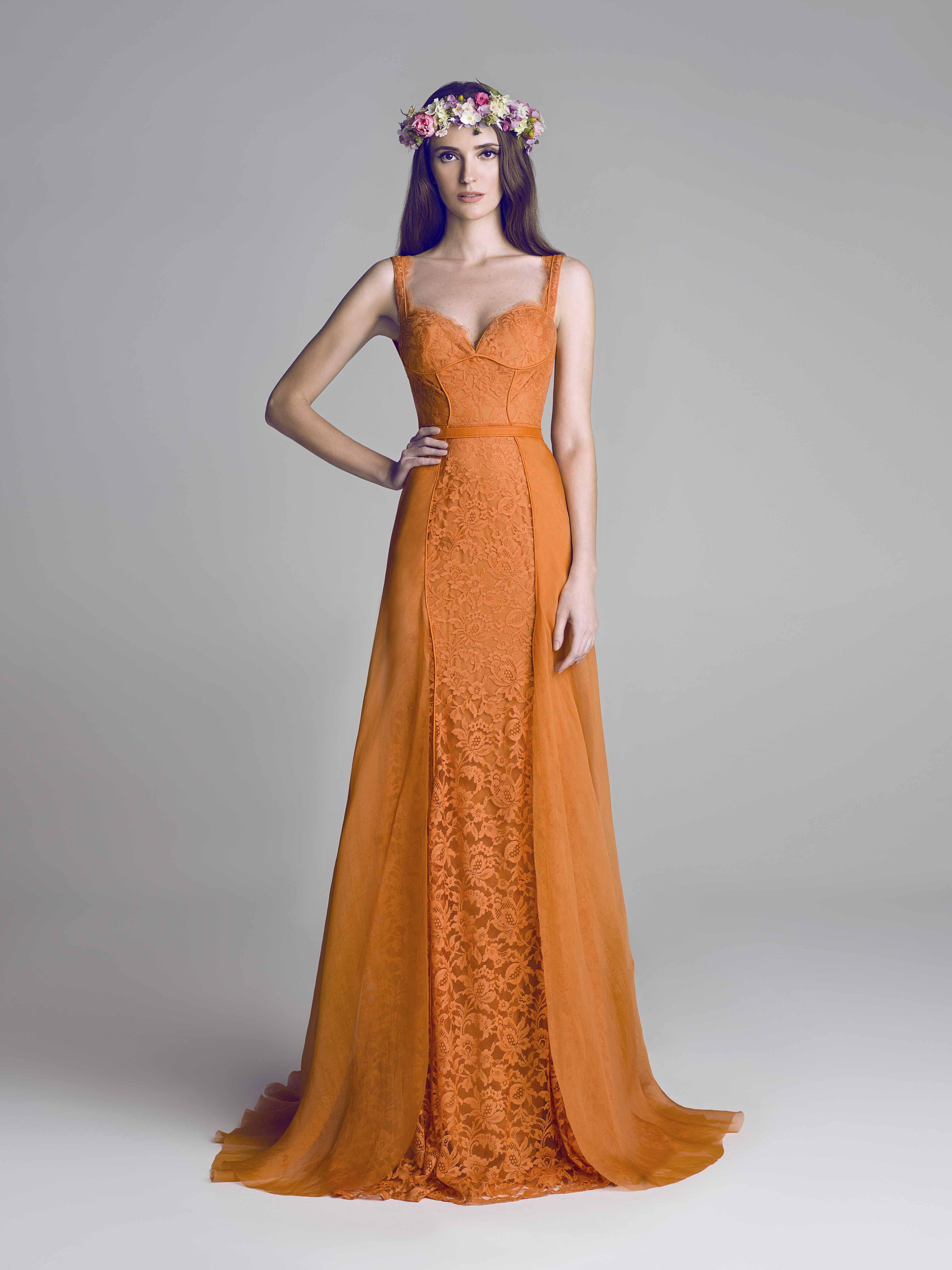 Orange lace dress   Deco casa   Pinterest   Lace dress, Gowns and Prom