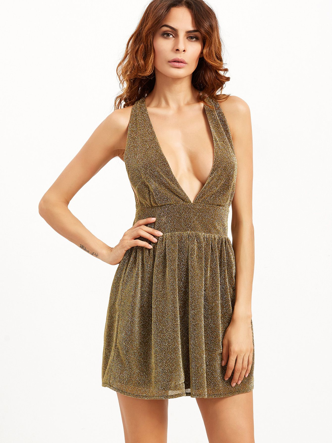 8b0389f69a Shop Gold Deep V Neck Sparkle Detail Party Dress online. SheIn offers Gold Deep  V Neck Sparkle Detail Party Dress