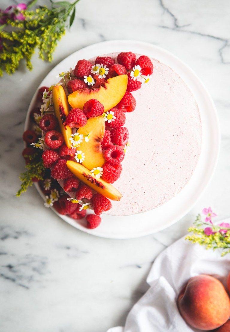 Almond cake with peach mascarpone filling raspberry