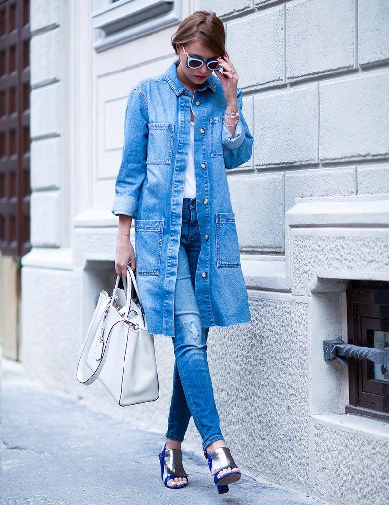 Джинсовое пальто (с изображениями) | Джинсовая куртка ...