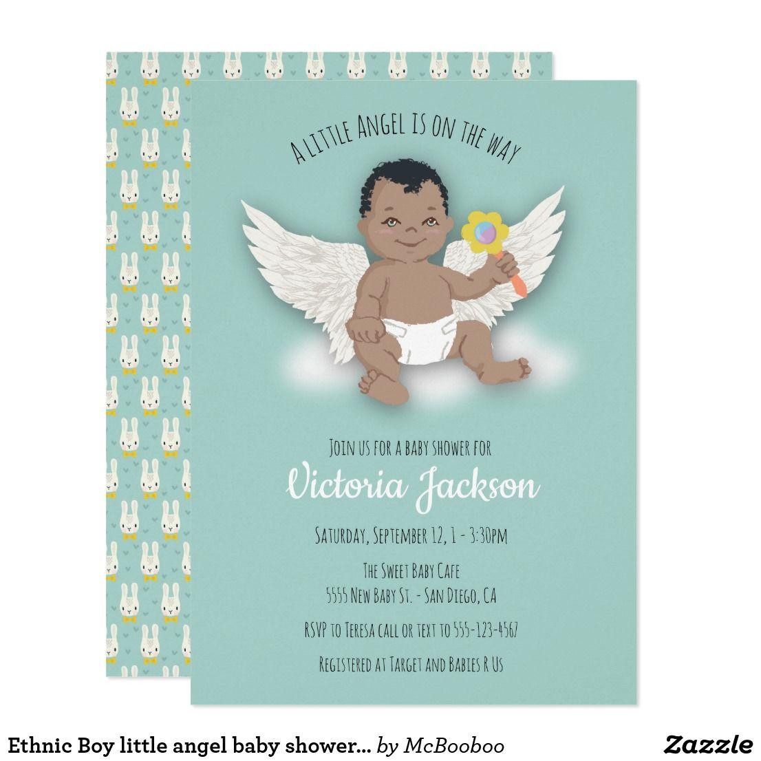 Ethnic Boy little angel baby shower invitations