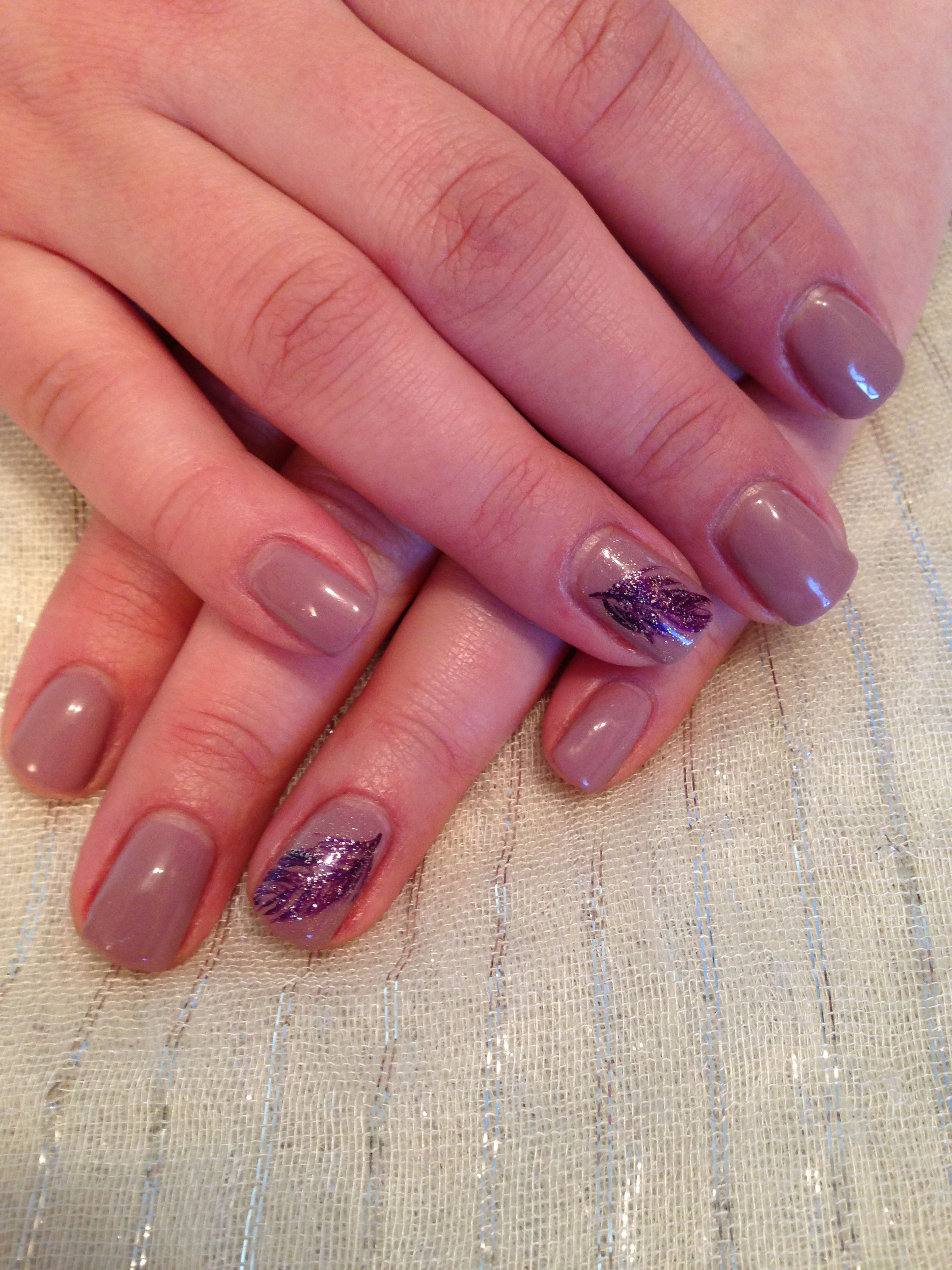 Nude nails with deep purple feather   Nail Art   Pinterest   Nude ...