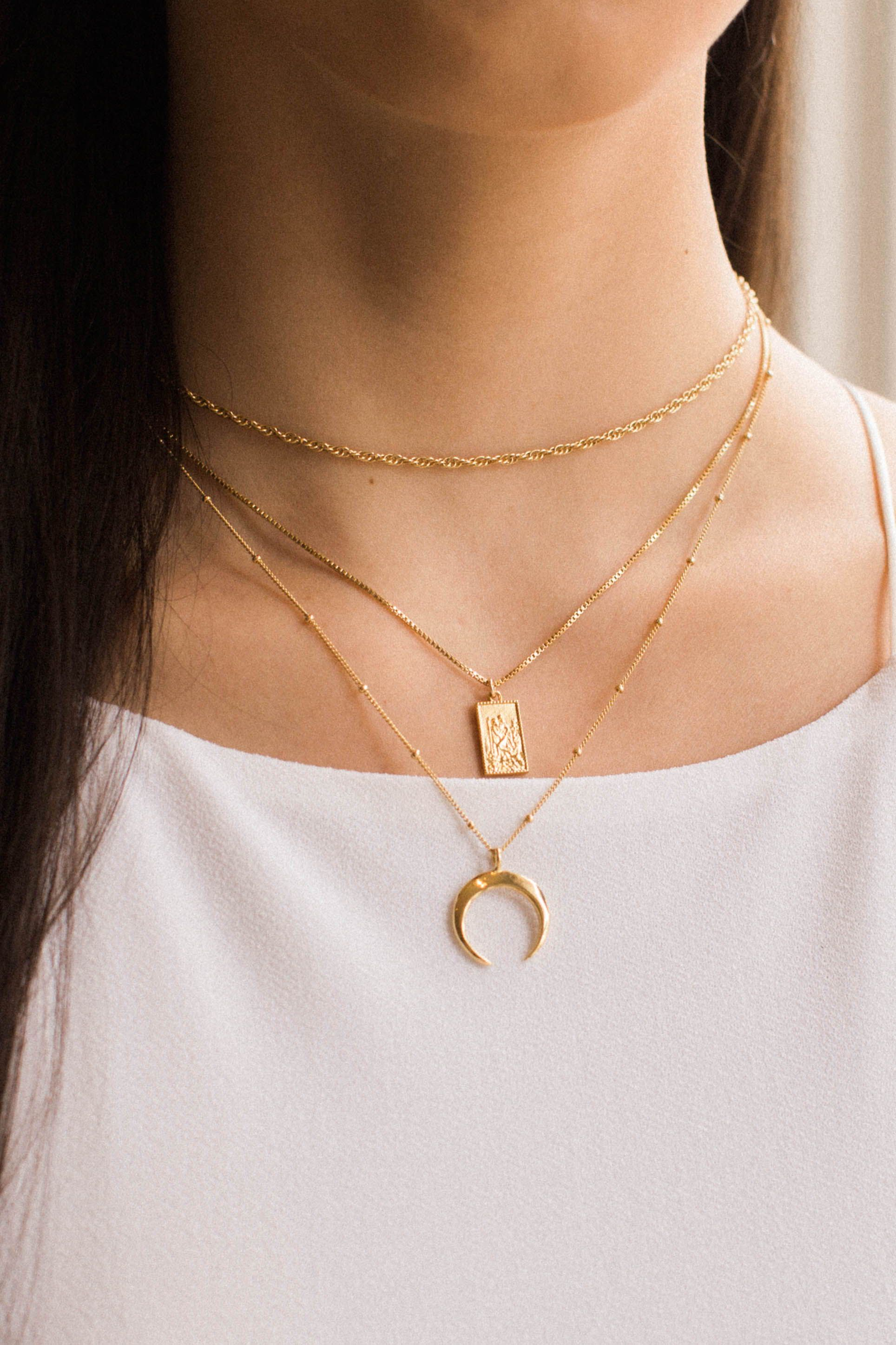 Some Layered Favorites Including Our Dainty Horn Necklace Rectangle Trave Sterling Silver Chain Necklace Gold Diamond Wedding Rings Silver Dragonfly Necklace