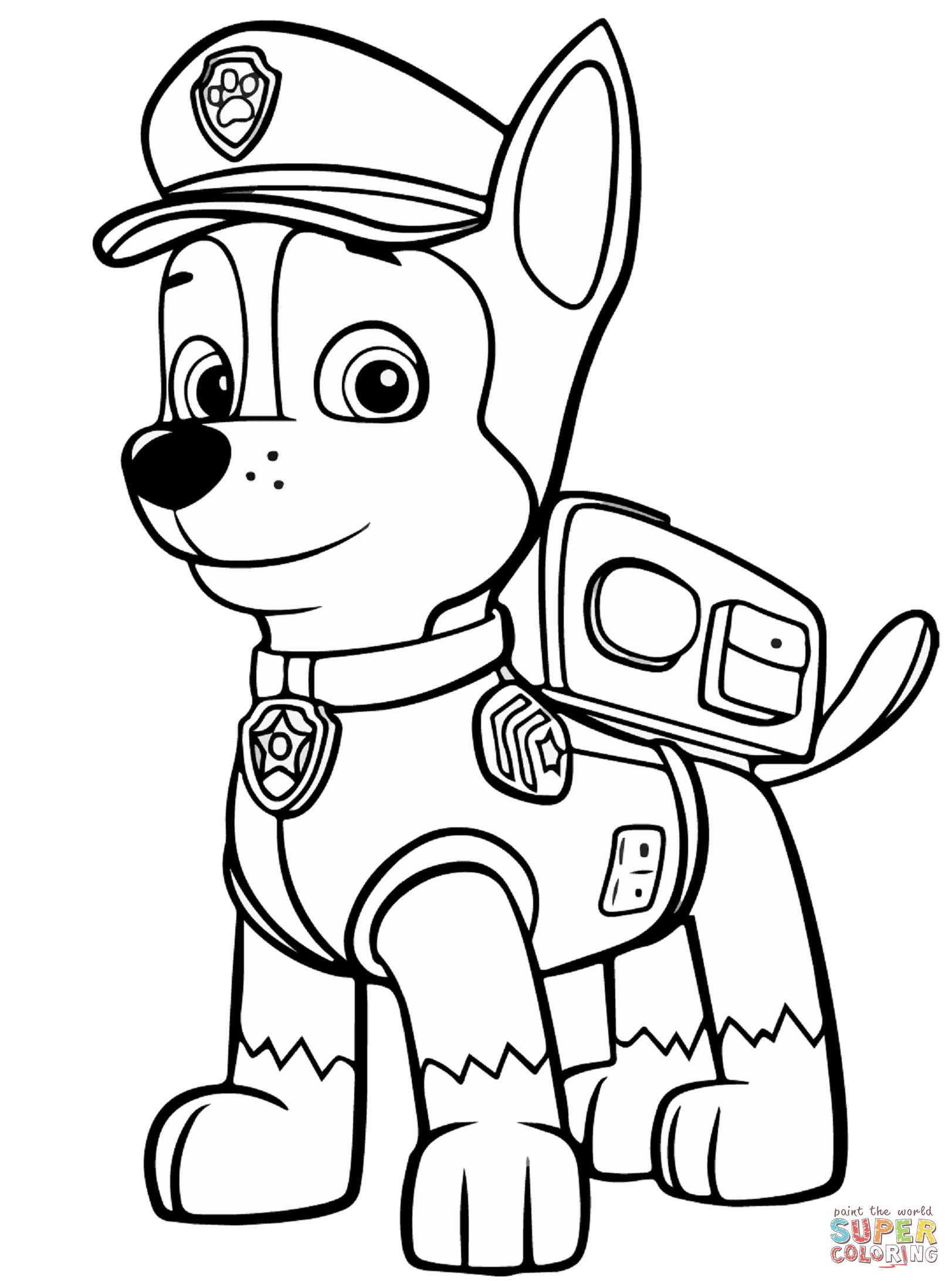 Paw patrol coloring, Paw patrol coloring pages, Chase paw patrol