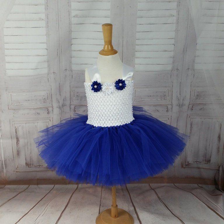 Jolie Petite Robe En Tulle Bleu Roi Et Blanche Pour Bebe Bustier Adaptable Mariage Petite Fille D Honneur Bapteme Noe Satin Flowers Little Dresses Tulle
