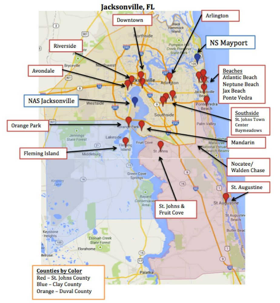 Los Cayos Florida Map.Map Of Jacksonville Mayport Florida Military Town Advisor Blog