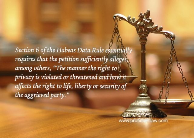 Matters To Be Alleged In A Petition For Writ Of Habeas Data