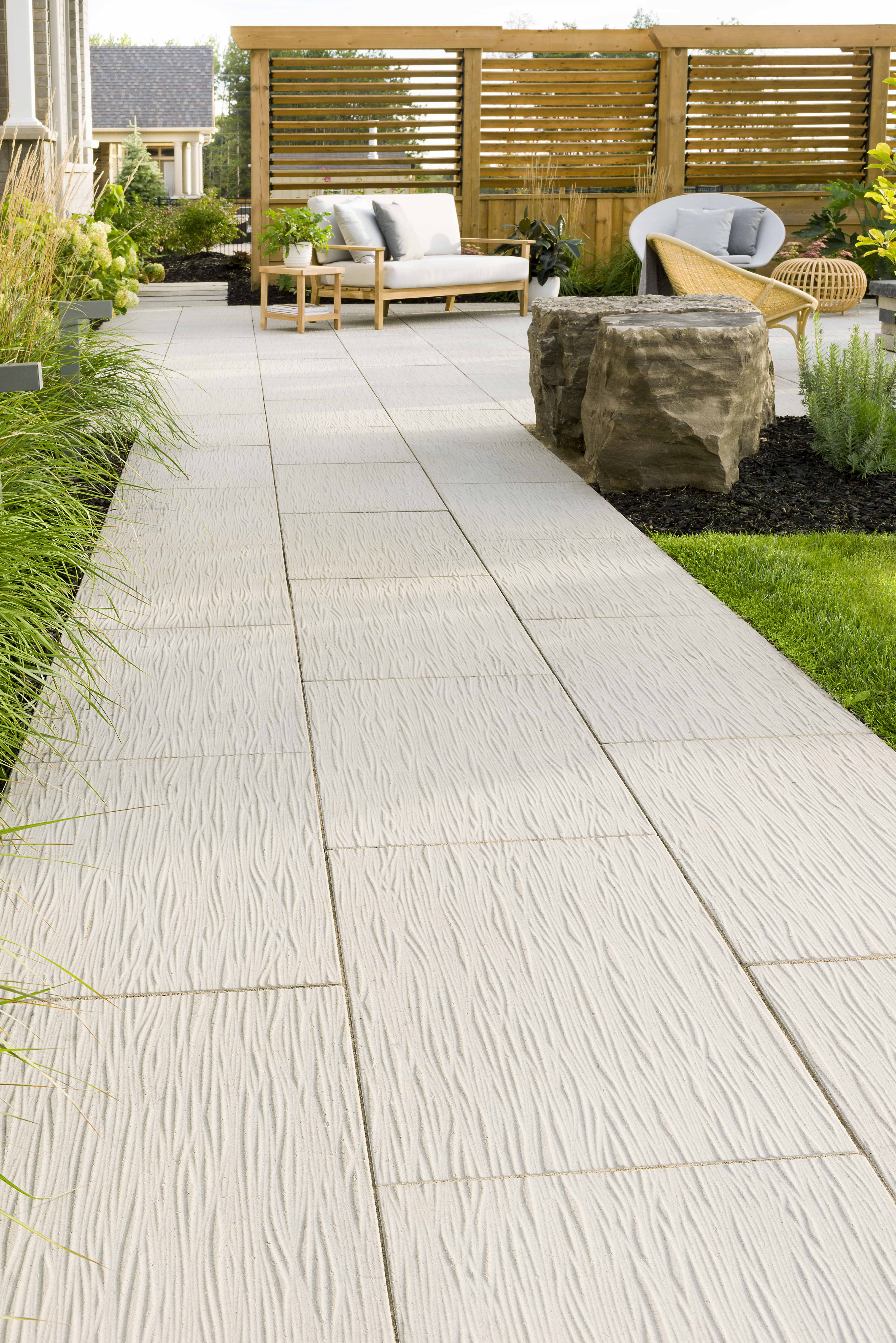This Backyard Walkway Design Features Our Ocean Grande Slab This Original Design Was Inspired By Th In 2020 Patio Pavers Design Patio Slabs Backyard Walkway