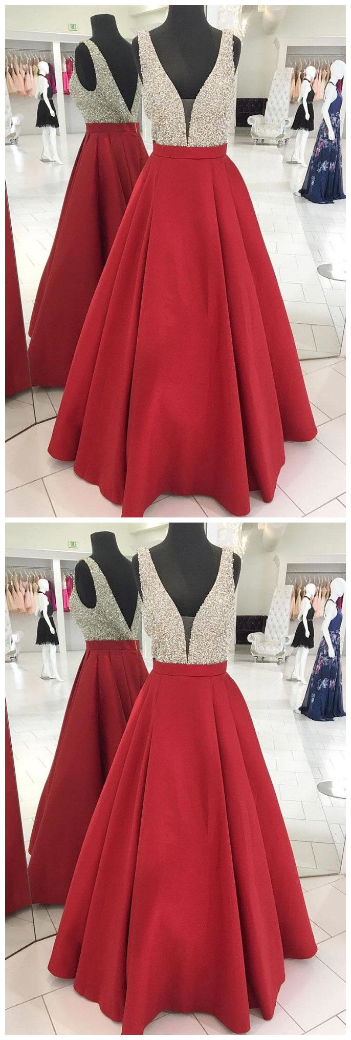 Sparkly sequins red long prom dress evening dress p promdress