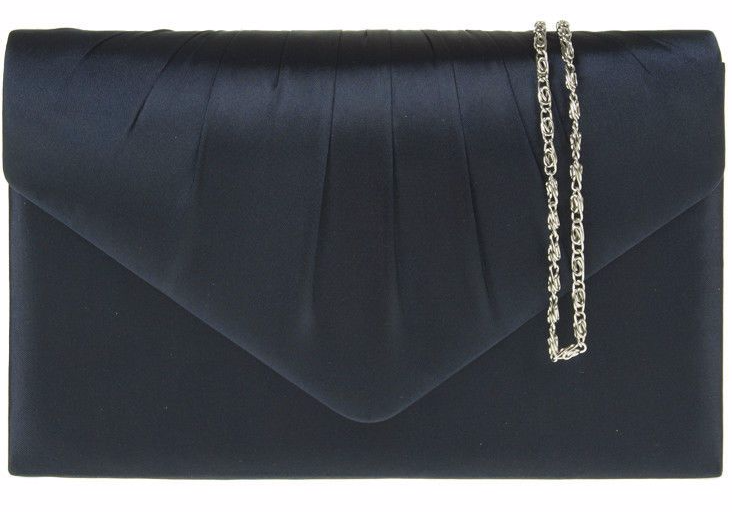 A Navy Blue Satin Clutch Bag Shoulder With Pleated Detail To The Front Fastens Flap Over Top And Concealed Metal Magnetic