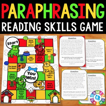 Paraphrasing Activitie Reading Comprehension Game Paraphrase Resources Resource  Writing