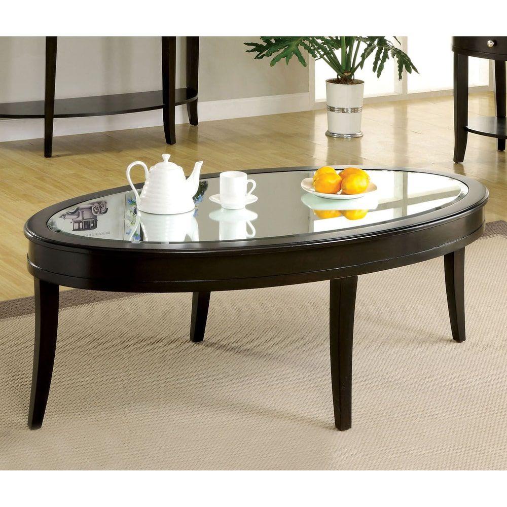 Furniture of america slovaria modern glass top coffee