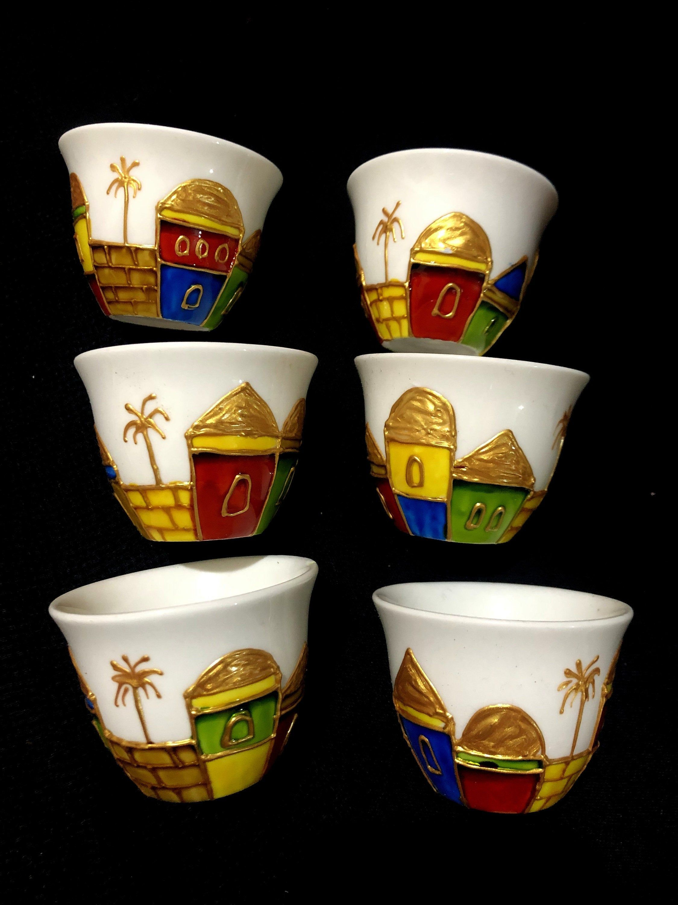 Arabic coffee cups set of 6 hand painted ceramic