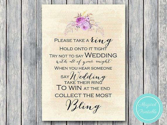 dont say wedding take a ring game bohemian boho bridal shower game download bachelorette weddi