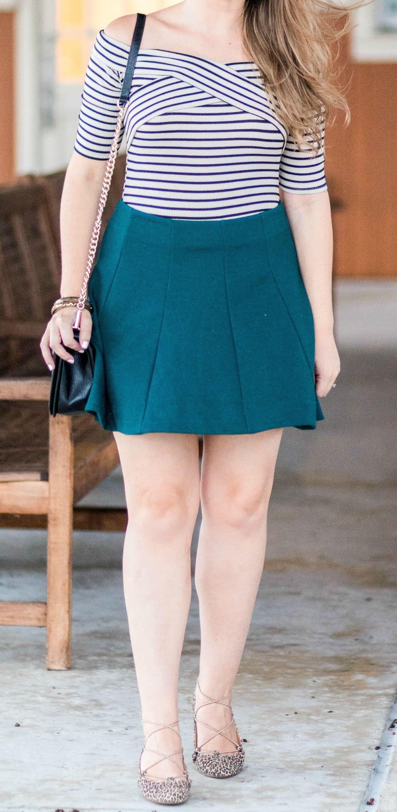 Cute Fall Outfit Idea | Green skater skirt Hunter green and Skater skirt