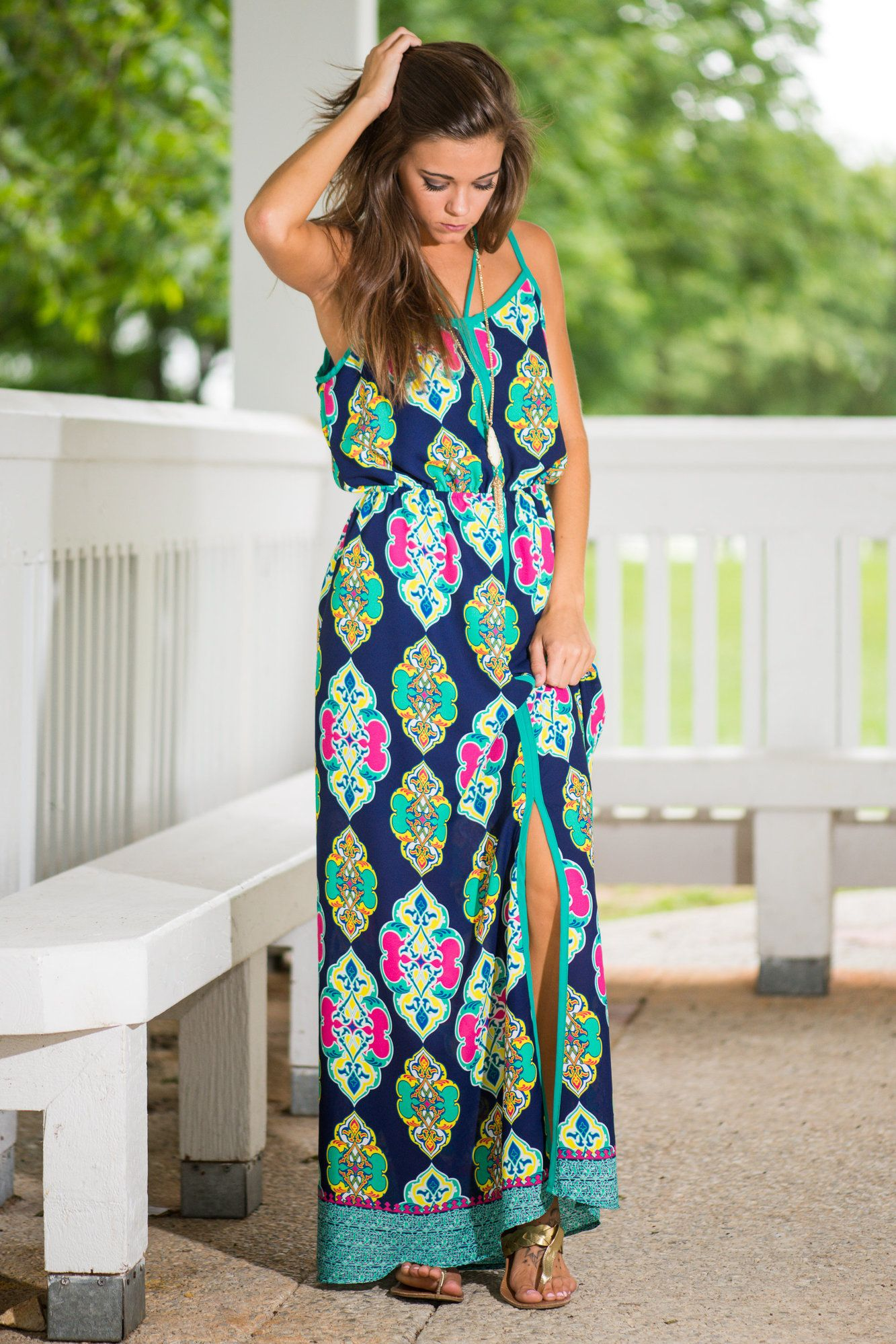 Bold Beauty Maxi Dress, Navy - The Mint Julep Boutique