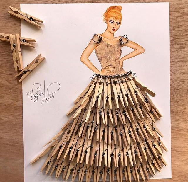 Clothes Pin Dress Fashion Design Drawings Art Dress Creative Art